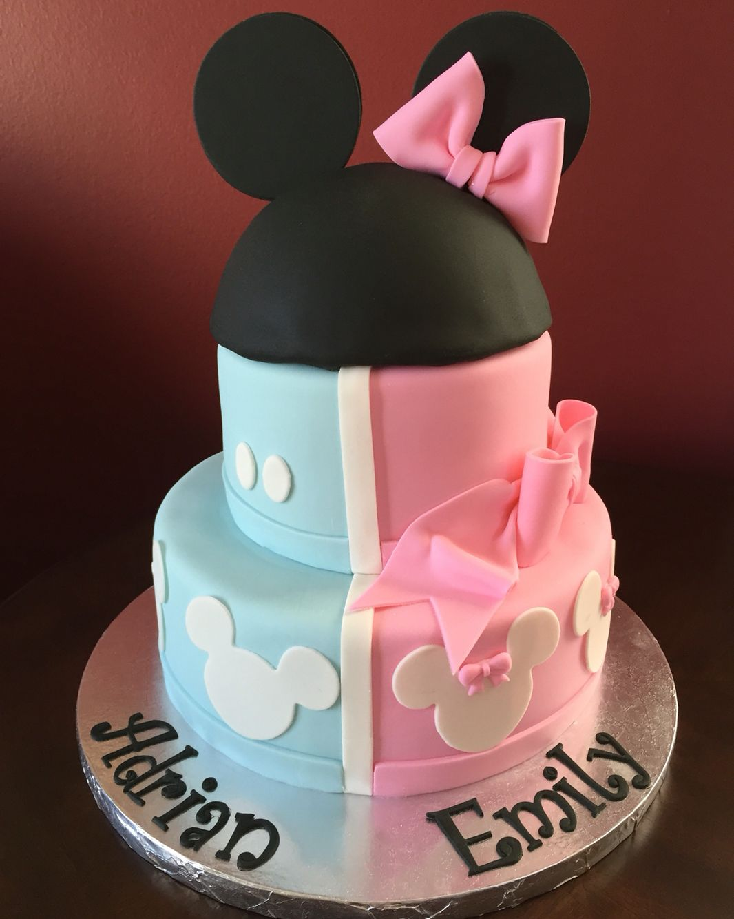 Mickey And Minnie Mouse Birthday Cake For Twins