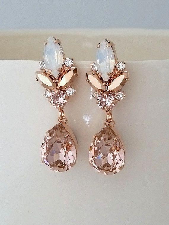 Blush Chandelier Earrings Bridal Morganite Vintage