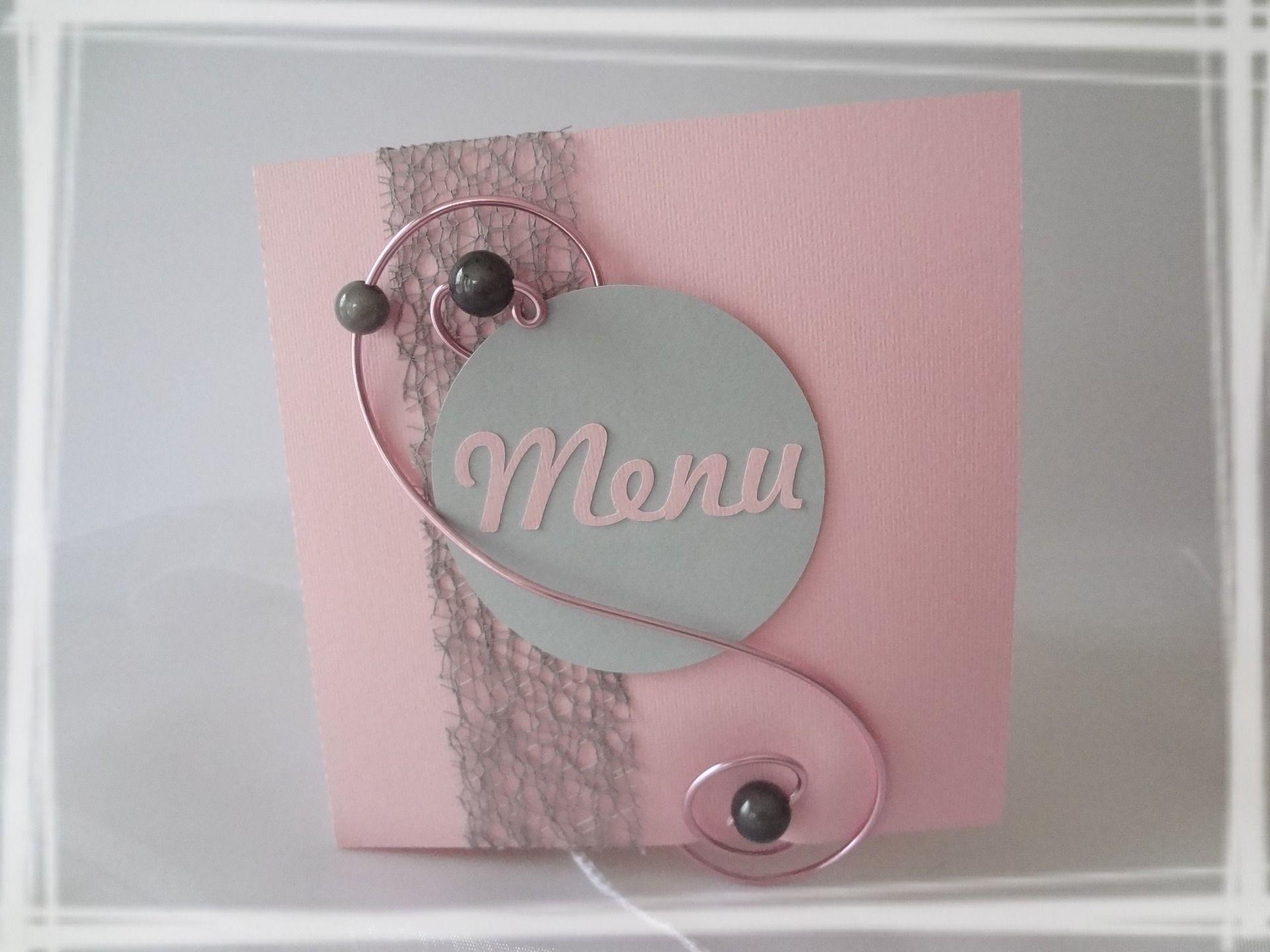 Menu Mariage Ou Bapteme Rose Et Gris Cuisine Et Service De Table Par Laetiline