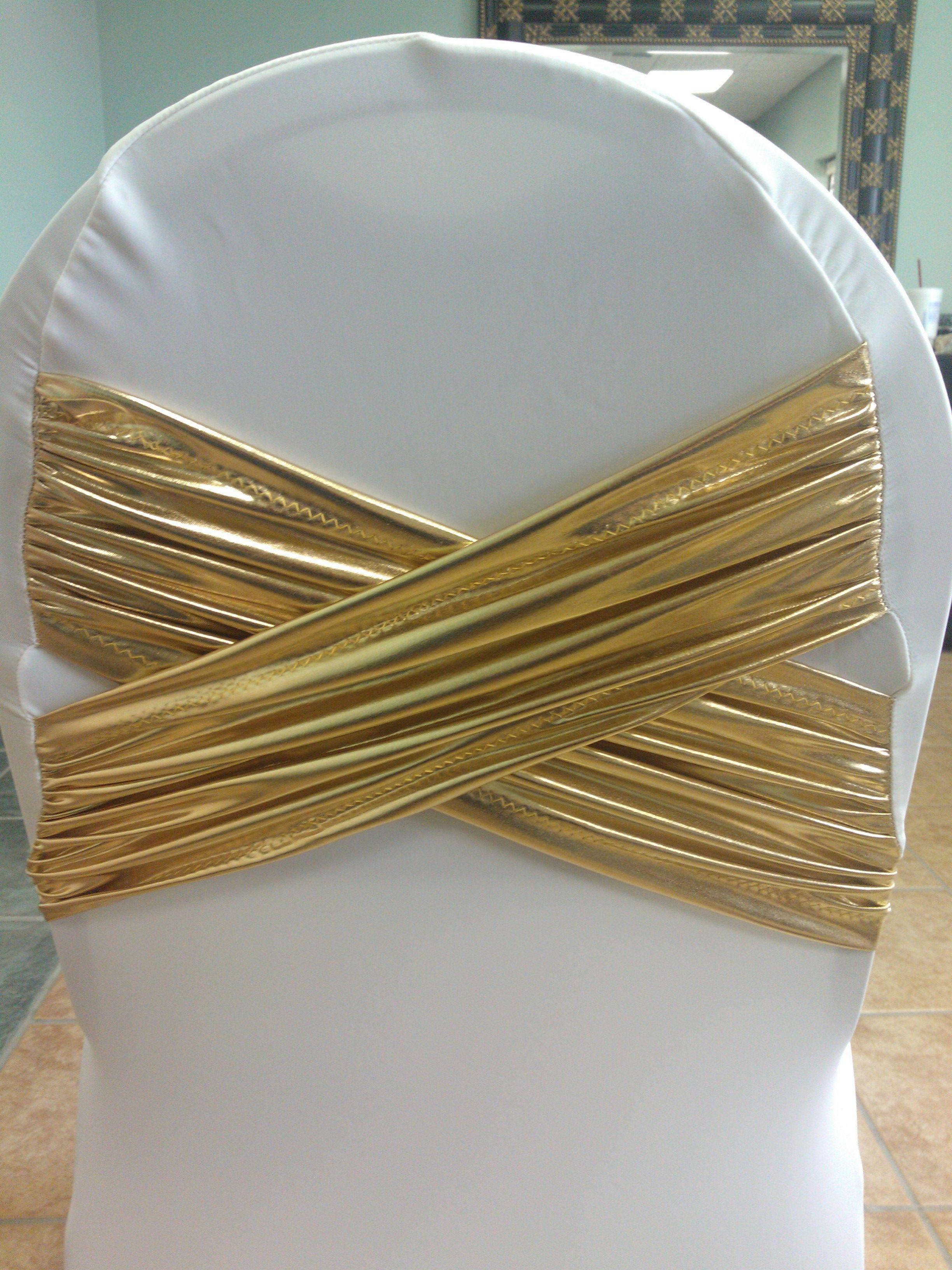 Diamond X white spandex chair cover with gold metallic