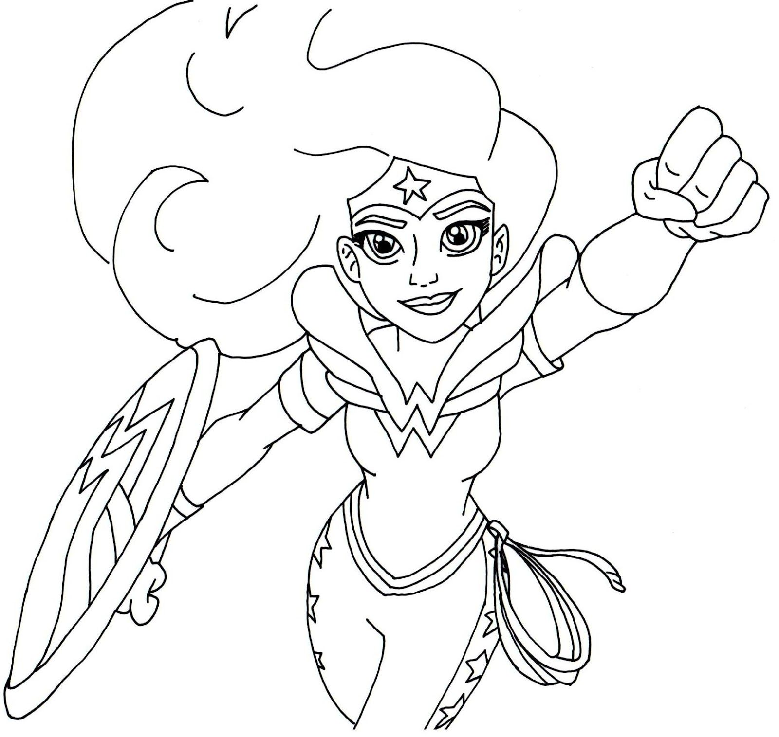 Free printable super hero high coloring page for Wonder