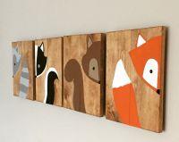 10x14 Set of 4 Woodland Animal Nursery Signs Nursery Decor ...
