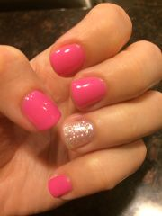love pink & silver sparkle shellac