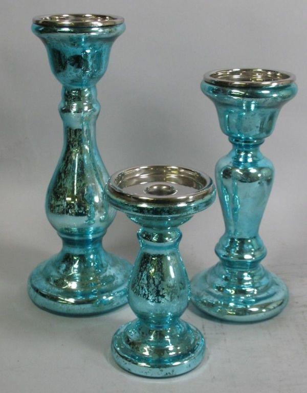 Mercury Glass Colored Set Of Blue