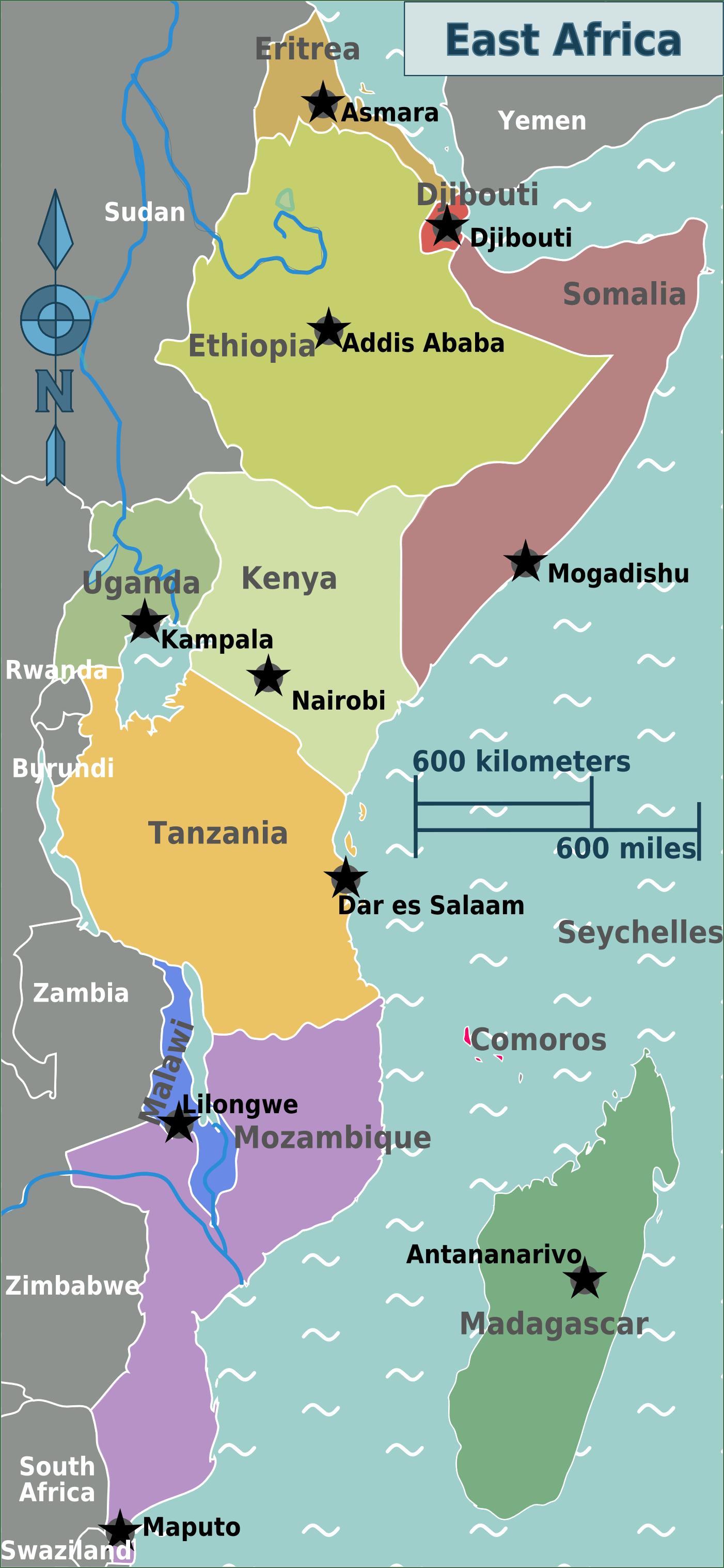 East Africa Regions Map