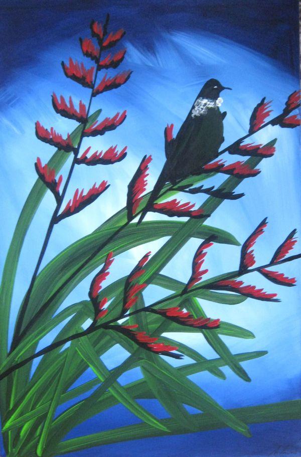Tui' Nectar Zealand Bird Paintings Modern Abstract
