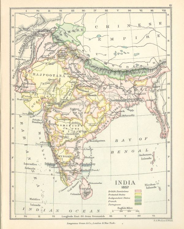 1891 Map of India as it was in 1857 british india