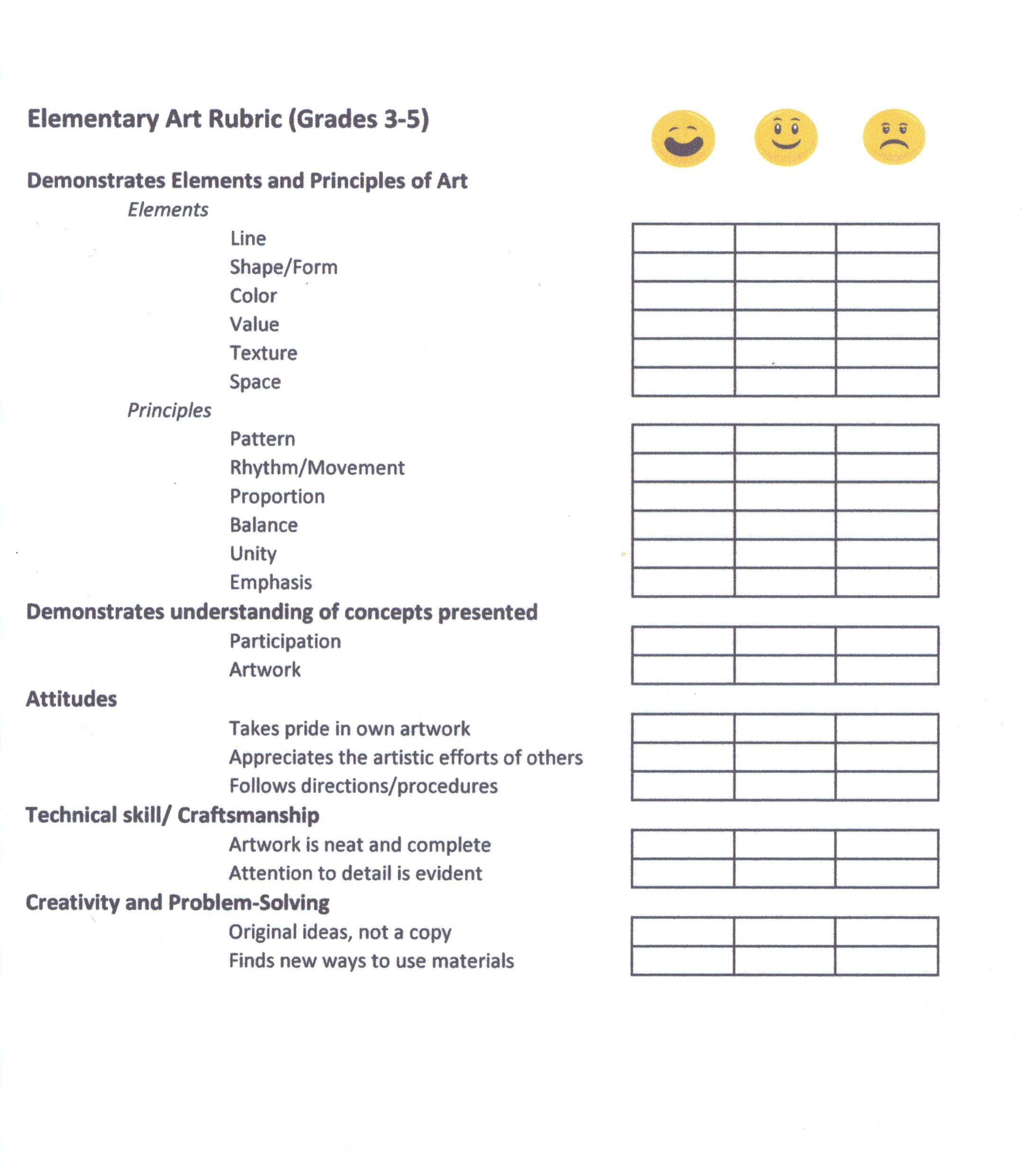 This Is A Rubric I Use To Score My Upper Elementary Art Students
