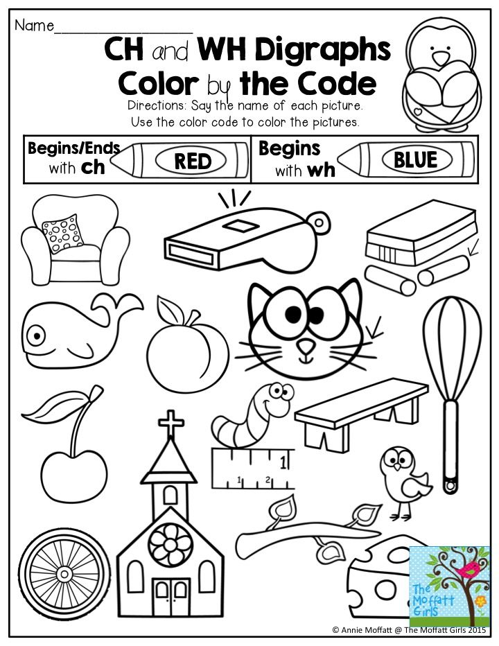 Ch and Wh Digraphs- Color by the Code. FUN and engaging