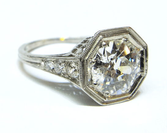 Vintage Art Deco Engagement Ring With Octagon Bezel Set