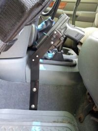Gun stand with Blackhawk holster I made for my 06 Dodge