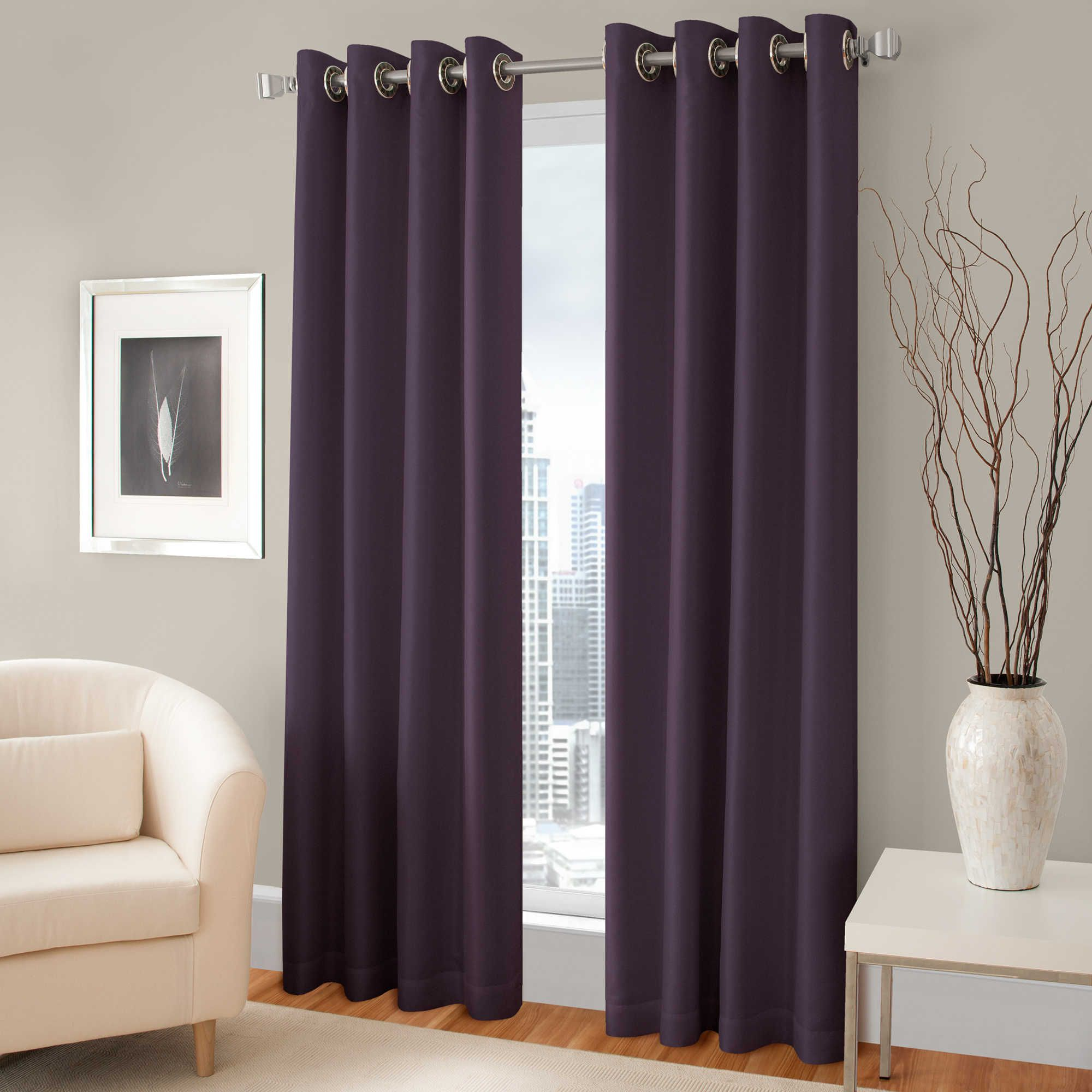 Pretty Purple Room Darkening Curtains With Silver Rods On Gray