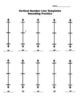 Vertical Number Line Templates- Rounding 3.NBT.A.1