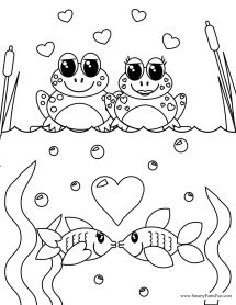 Frog and Fish Couples Valentine Day Coloring Page Adult