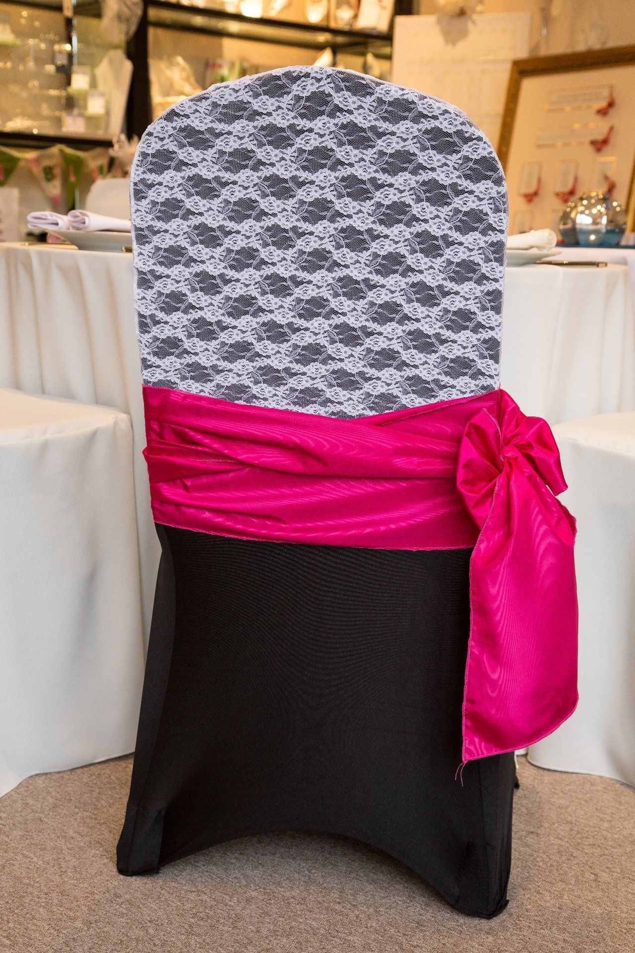 black chair covers to hire massage chairs costco spandex lace hood and hot pink sash http