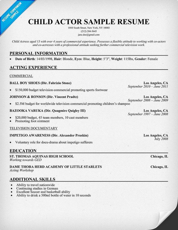 Audition Resume Template Child Actor Sample Resume Child Actor