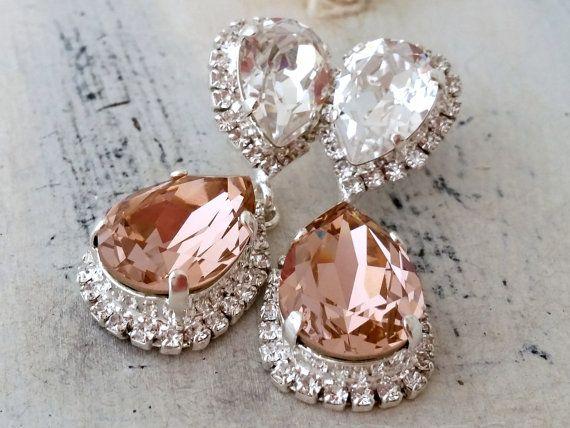 Blush Chandelier Earrings Pink Bridal Earringsblush Bridesmaids Gift Swarovski Drop Ear