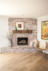 Custom brick fireplace with antique white mortar and ...
