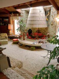 Sunken living room and circular fireplace at John Frank ...