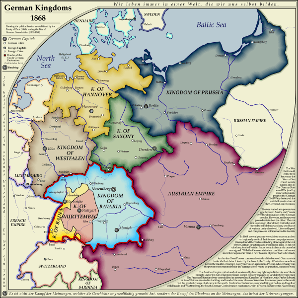 Map German Kingdoms 1868 little history is good to know