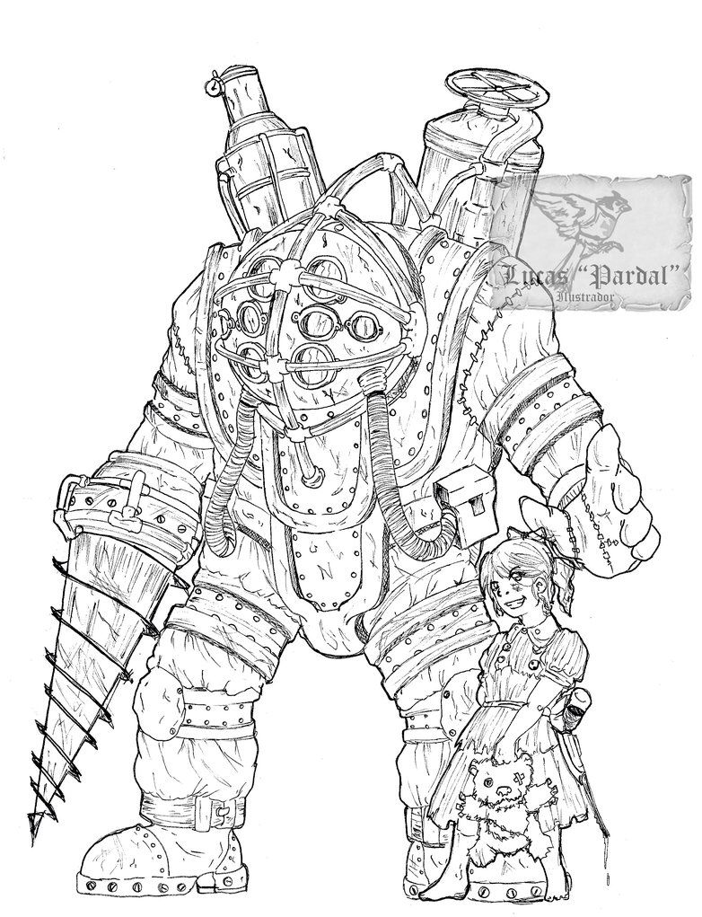 Fan Art of BIOSHOCK's Big Daddy and a Little Sister