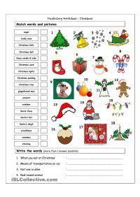 Vocabulary Matching Worksheet - Xmas | EN: Christmas ...