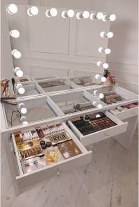 crisp white finish Slaystation make up vanity with premium ...