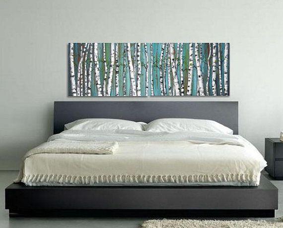 birch trees, birch tree painting, diptych, panoramic