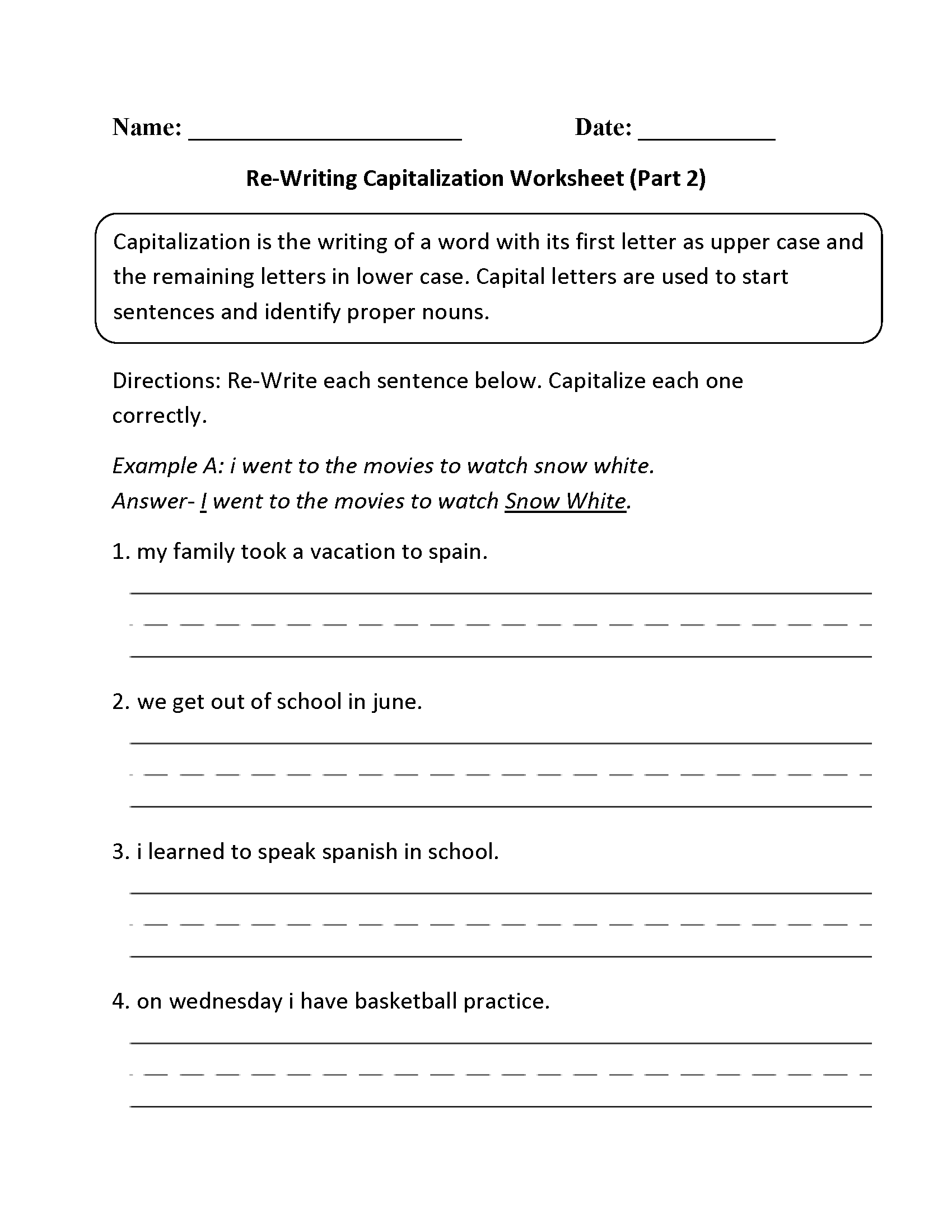 Re Writing Capitalization Worksheet Part 2