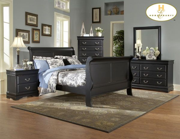 black furniture with blue bedding | charlotte black bedroom set