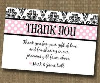 Damask Shabby Chic Thank You Card - Baby Shower Bridal ...
