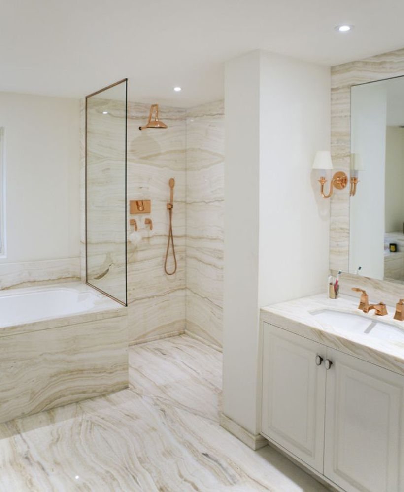 Marble and rose gold bathroom designed by Katharine Pooley  Rose Gold  Decor and Design