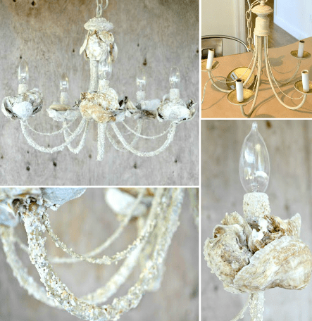 Use Your Collected Shells To Create A Beautiful Shell Chandelier You Will See Two Kinds Of Diy Chandeliers That Have She