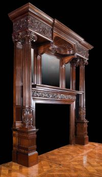 Antique mahogany late victorian fireplace mantel ...