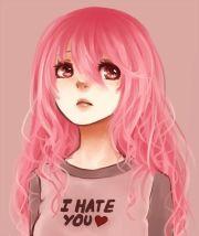 de anime girl and pink