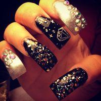 Long nails with ghetto fab theme nail art | Nails nails ...