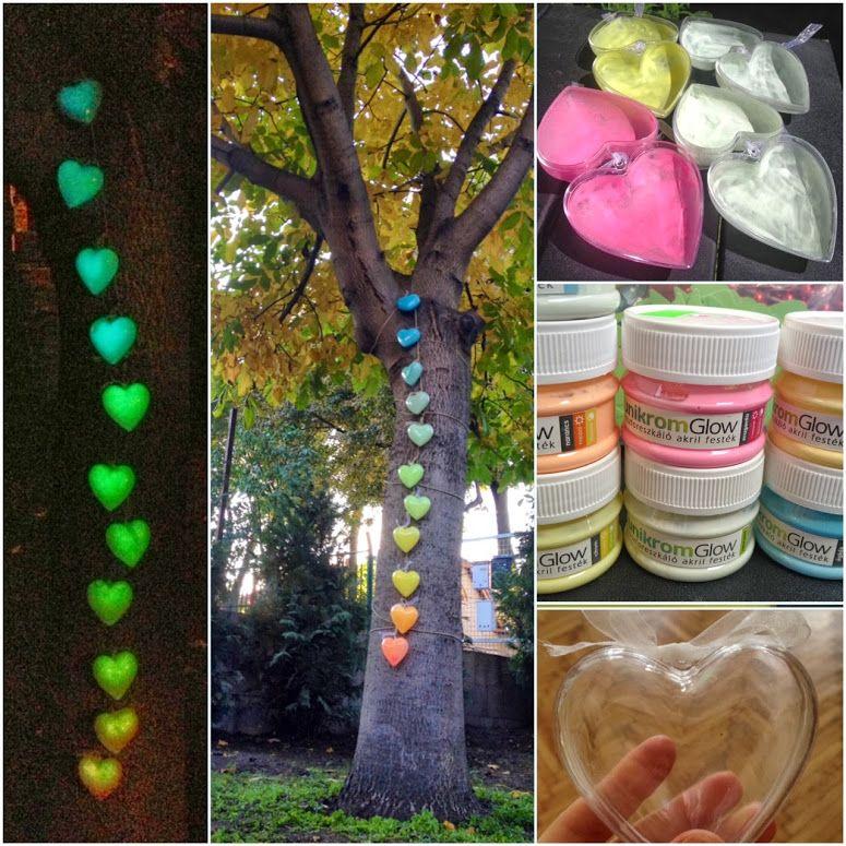 Garden Lighting Colourfull Hearts Phosphorescent Dye Rainbow