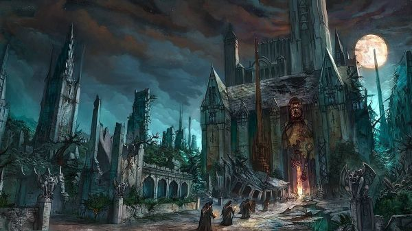 Dark Fantasy Horror Gothic Art Monk Cathedral Church
