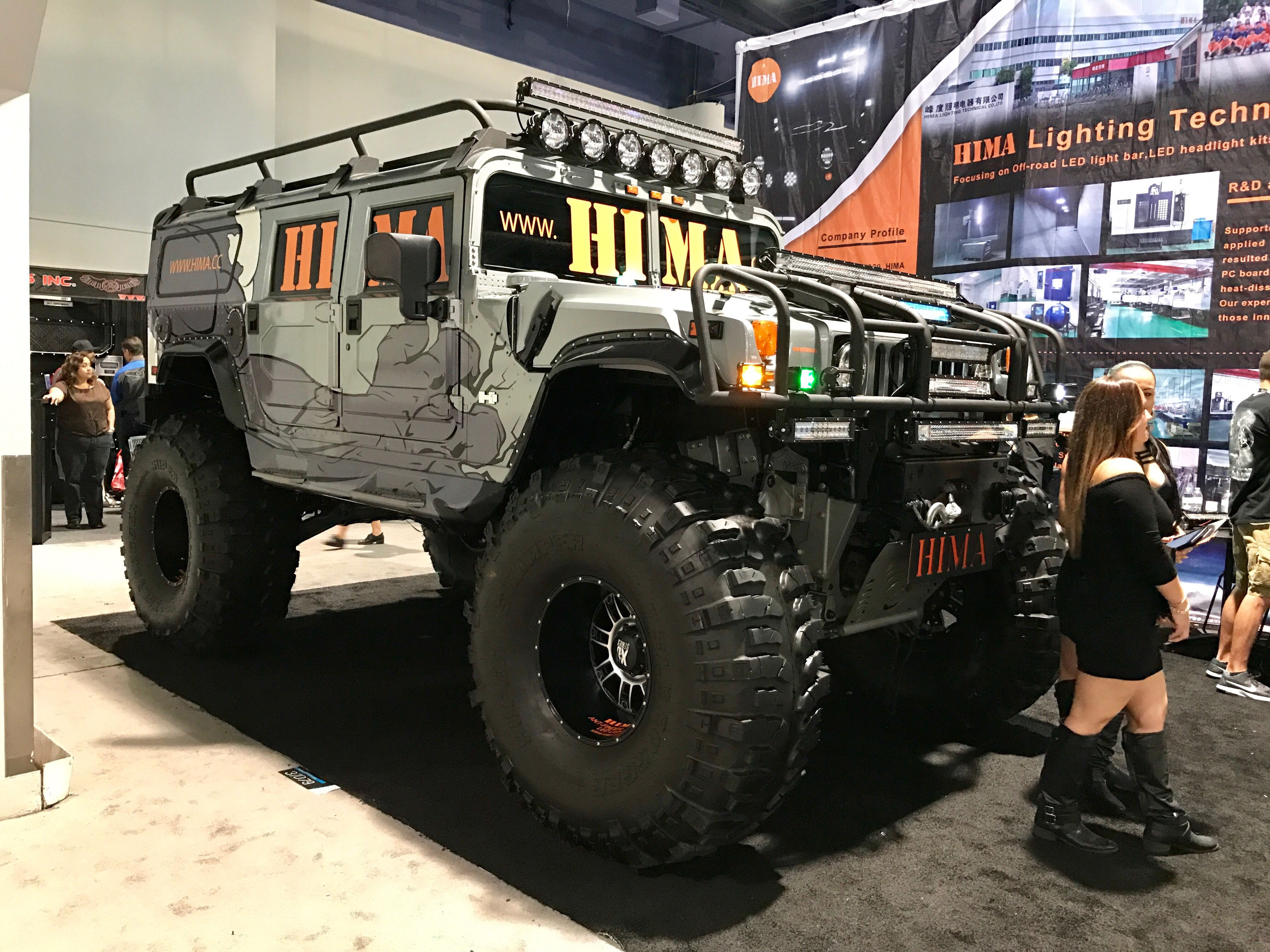 Check out this massive Hummer H1 at the HIMA Lighting booth