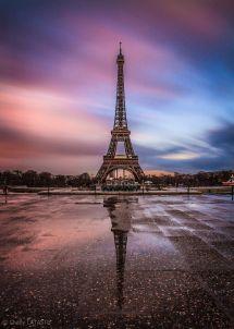 Eiffel Tower Paris France Sunset