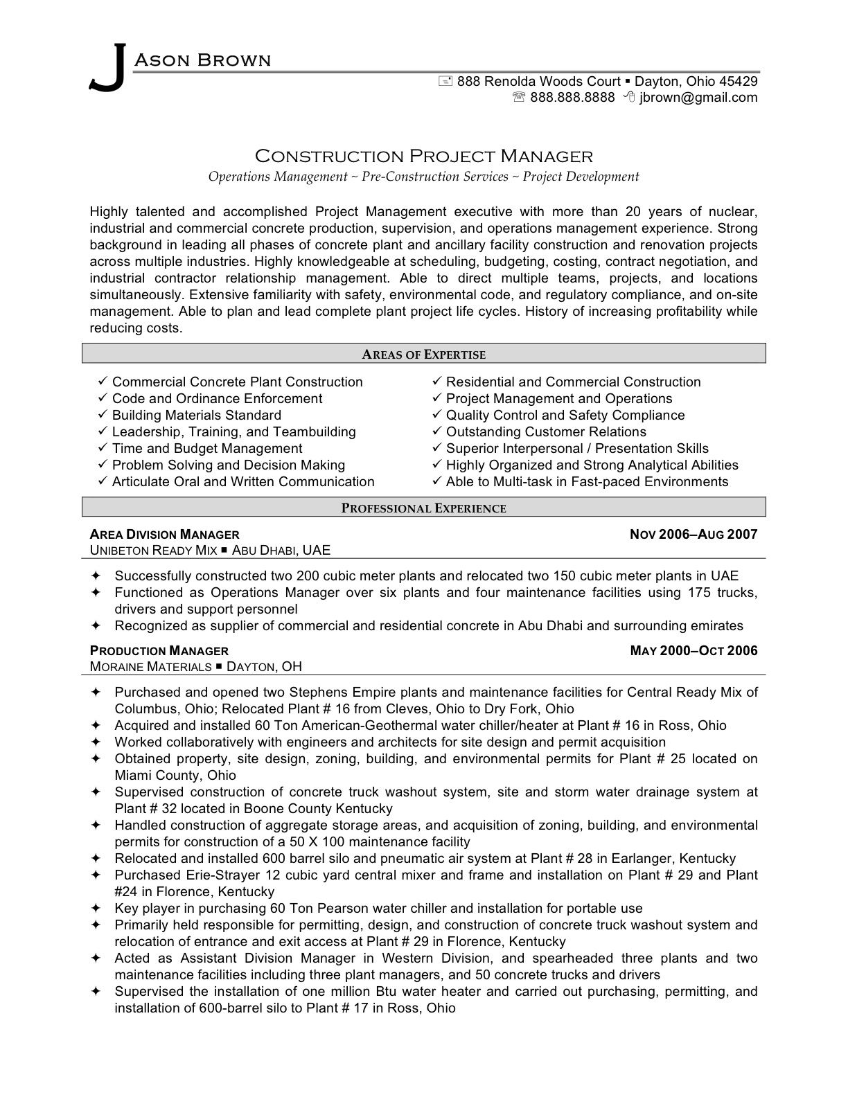 construction project manager resume templates - Construction Project Manager Resume Examples