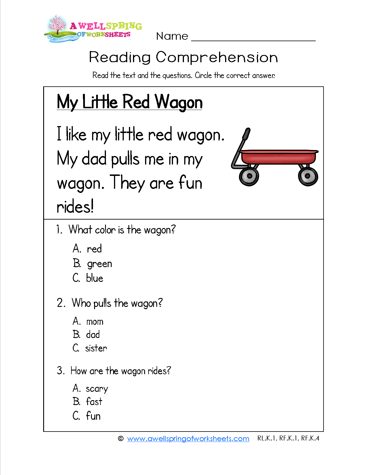 Kindergarten Reading Comprehension Worksheets