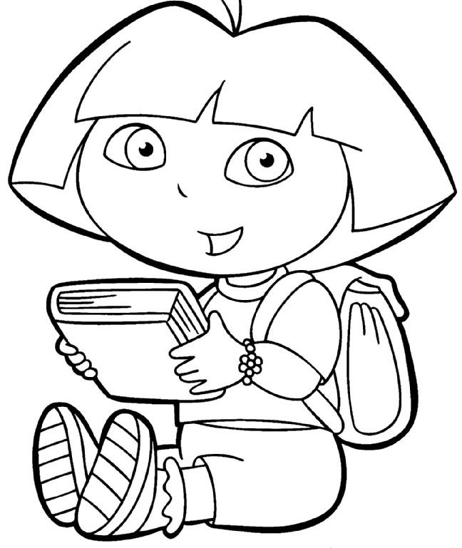 I have download Dora Was Holding A Book Coloring For Kids