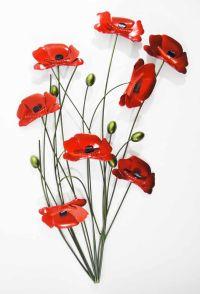 Metal Wall Art - Poppy Flower Bunch Green Stems   Metal ...