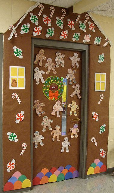 Gingerbread house door design too cute barkett barber if we have  decorating contast for christmas at work this is how win also around classroom rh es pinterest