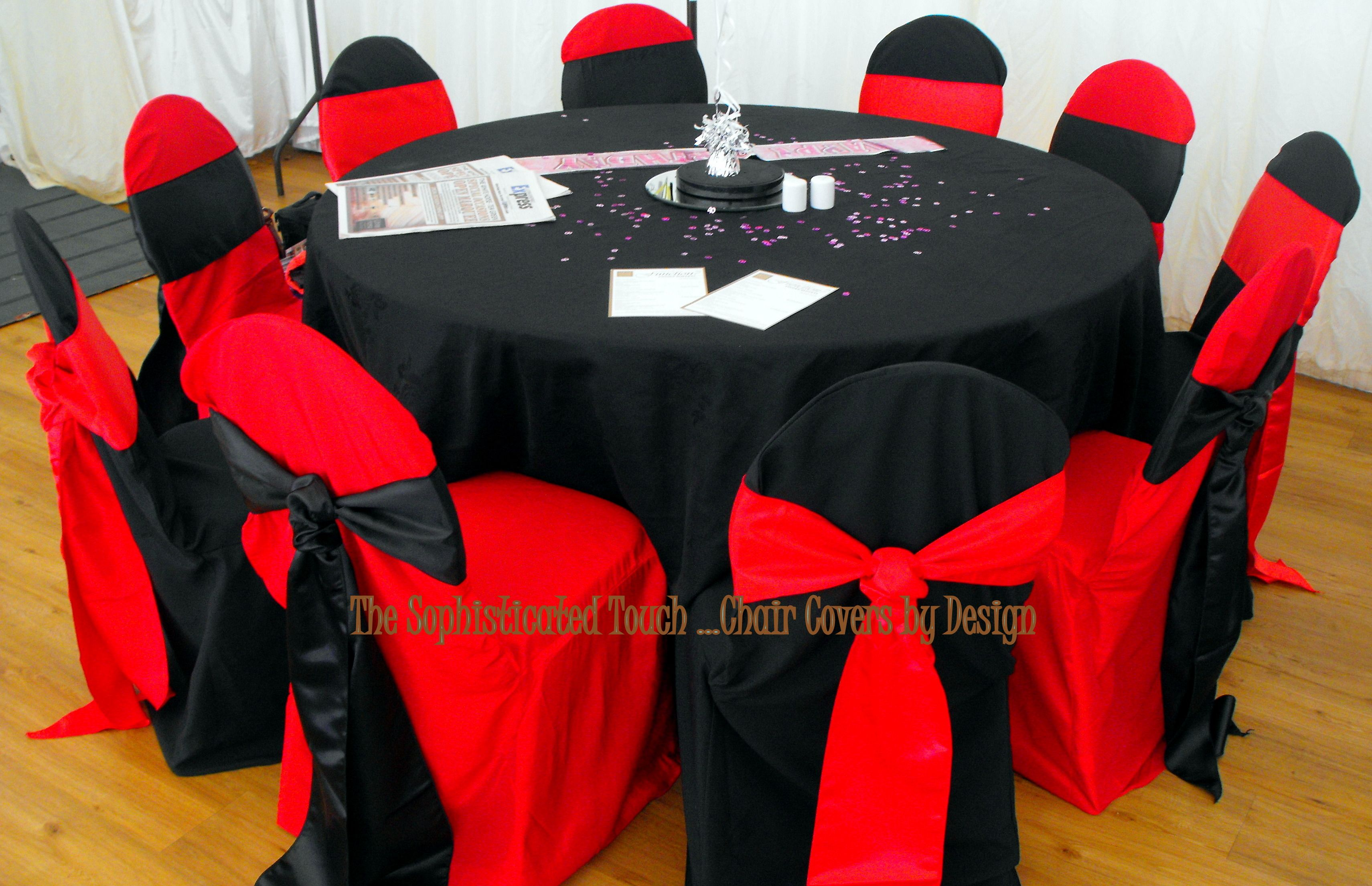 dark red chair sashes rustic rocking and black alternating covers with