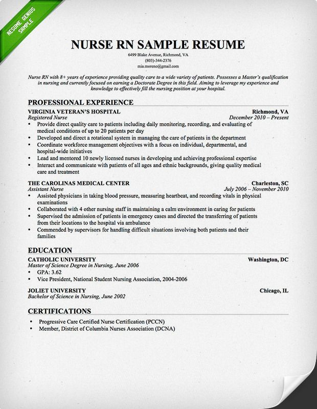 Nurse RN Resume Sample Download This Resume Sample To