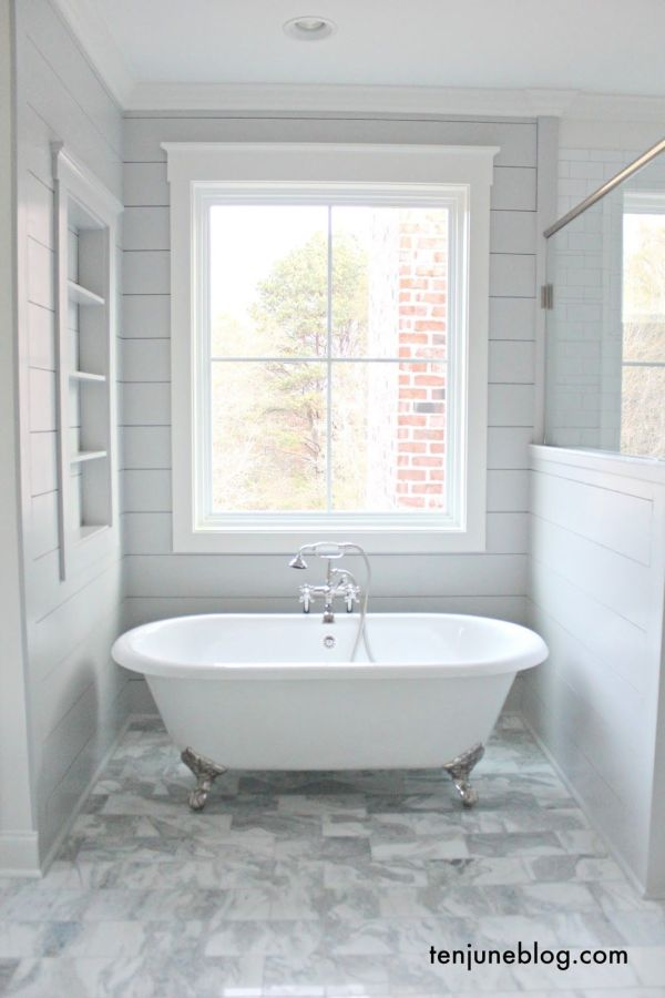 Farmhouse Master Bathroom with Shiplap