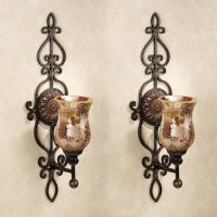 Leyanna Mosaic Aged Brown Wall Sconce Pair | Candleholders ...