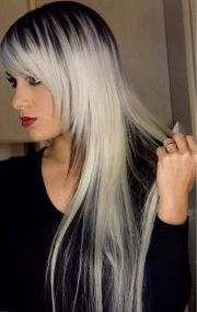 white and black grey hair ombre